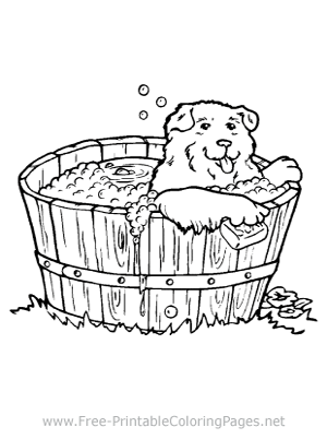 Dog in Bath Coloring Page