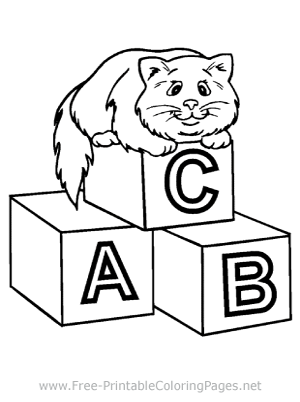 Cat on Blocks Coloring Page
