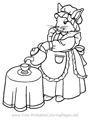 Bunny Tea Party Coloring Page