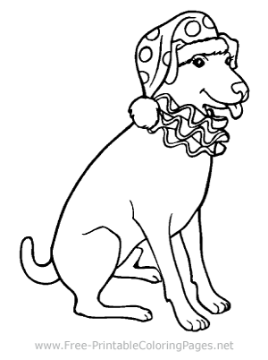 Dog with Clown Hat Coloring Page