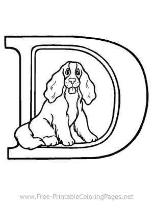 Doggie in a Big Letter D Coloring Page