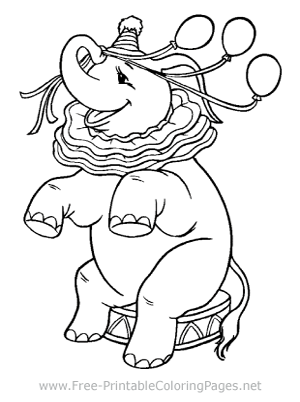 Party Elephant Coloring Page