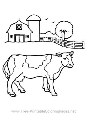 Cow on Farm Coloring Page