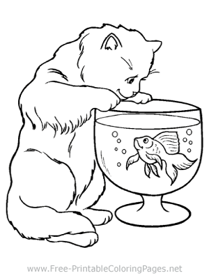 Cat and Fish Bowl Coloring Page