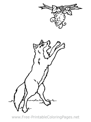 Wolf and Grapes Coloring Page