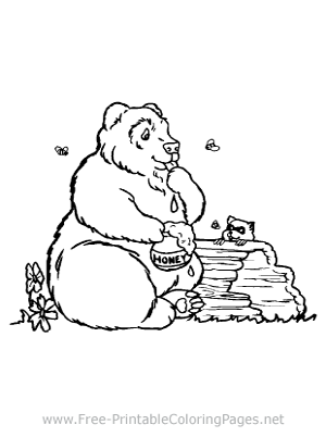 Bear Eating Honey Coloring Page