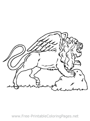 Lion with Wings Coloring Page