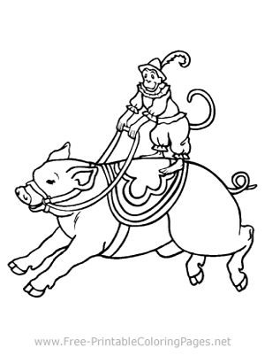 Monkey Riding a Pig Coloring Page