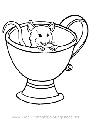 Mouse in Teacup Coloring Page