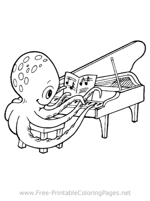 Octopus and Piano Coloring Page