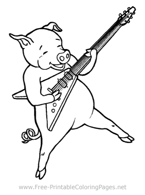 Pig Playing a Guitar Coloring Page
