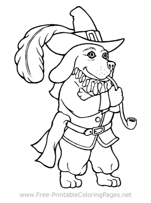 Dog Dressed as Pilgrim Coloring Page