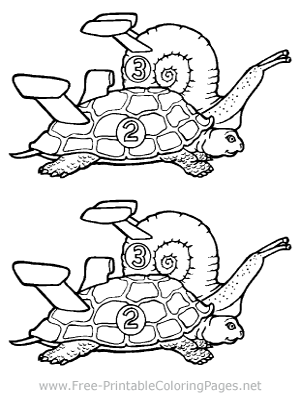 Turtle and Snail Racing Coloring Page