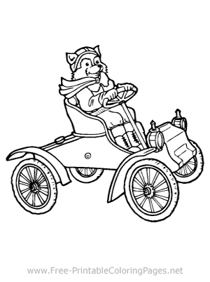 Raccoon Driving a Car Coloring Page
