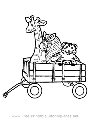 Riding in a Wagon Coloring Page